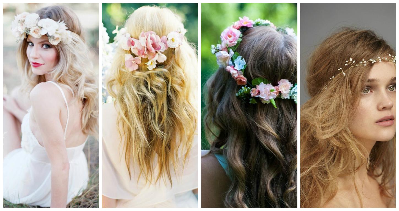 dalgalı saçlar ile çiçekli taçlar